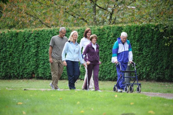 Spaziergang im Grünen im Rahmen der Orthopädischen Rehabilitation
